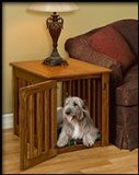 Pinnacle Wood Dog Crate End Table - Indoor Dog House Made With Wood and Stain Colors to Match Your Decor- Decorative and Lovely When...