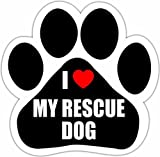 'I Love My Rescue Dog' Car Magnet With Unique Paw Shaped Design Measures 5.2 by 5.2 Inches Covered In UV Gloss For Weather Protection