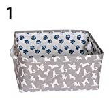Opla3ofx Dog Paw Print Canvas Storage Cube Box Nursery Office Container Organizer Basket, Idea Ornament for Valentine's Day Xmas,...