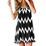 Women's Spaghetti Strap Tassel Hem Mini Casual Dress Print Summer Beach Swing Dress Casual Fit Black