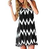 Women's Spaghetti Strap Tassel Hem Mini Casual Dress Print Summer Beach Swing Dress Casual Fit Black