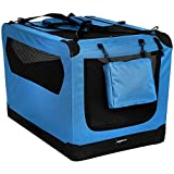 AmazonBasics Premium Folding Portable Soft Pet Dog Crate Carrier Kennel - 36 x 24 x 24 Inches, Blue