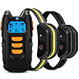 Flittor Dog Training Collar, Shock Collar for Dogs with Remote, 2 Receiver Rechargeable Dog Shock Collar, 3 Modes Beep Vibration and...