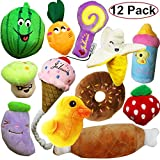 Jalousie 12 Pack Dog Squeaky Toys Cute Pet Plush Toys Stuffed Puppy Chew Toys for Small Medium Dog Puppy Pets - Bulk Dog Toys