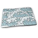 Rikana Japanese Waves Art Medium Washable Dog Training Mat, Waterproof and Leakproof, Absorbent Dog Mat.31 x21