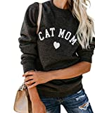 Heymiss Womens Tops Cat Dog Mom Shirts Long Sleeve Crewneck Graphic Tees
