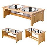 FOREYY Raised Pet Bowls for Cats and Small Dogs, Bamboo Elevated Dog Cat Food and Water Bowls Stand Feeder with 2 Stainless Steel Bowls...