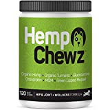 Hemp Chewz Dog Joint Supplements – Organic Treats Infused with Hemp Oil + Glucosamine Chondroitin for All-Natural Pain Relief &...