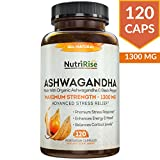 Ashwagandha 1300mg Made with Organic Ashwagandha Root Powder & Black Pepper Extract - 120 Capsules. 100% Pure Ashwagandha Supplement...