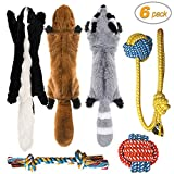 Peteast-3 Squeaky Toys and 3 Rope Dog Toys, No Stuffing Squeaky Plush Fox Raccoon Squirrel, Puppy Chew Teething Rope Toys Set for S/M/L...