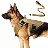 rabbitgoo Tactical Dog Harness and Bungee Dog Leash Set for Large Medium Dogs, MOLLE Vest for Service & Training Military Dogs...
