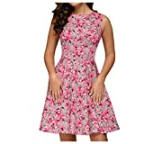 Floral Printed A Line Dress for Women Sleeveless Cocktail Party Summer Flare Vintage Midi Dress Pink