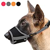 Heele Dog Muzzle Nylon Soft Muzzle Anti-Biting Barking Secure,Mesh Breathable Pets Mouth Cover for Small Medium Large Dogs 4 Colors 4...