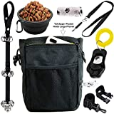 6 in 1 Puppy and Dog Training Essential Kit - Dog Treat Training Pouch, Bark Control Whistle, House Training Doorbells, Pet Clicker,...