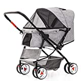 2D8V Pram Buggy Pushchair, Soft Sided Detachable Pet Carrier Travel Crate and Pet Stroller Bearing 20KG Airy Windows,53 65 99cm (Color...