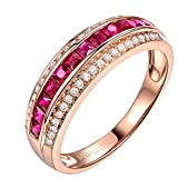 Aokarry 0.86 Carat Natural Ruby ??Ring 18K Gold Inlaid Diamond Ring Female Models Size 5.5