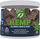 Only Natural Pet Allergy, Skin & Coat Hemp Soft Chews - with Omega 3 Fish Oil EPA/DHA Essential Fatty Acids, Bromelain, Quercetin &...