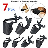 Dog Muzzles Suit, 7 PCS Anti-Biting Barking Pet Muzzles Adjustable Dog Muzzle Mouth Cover for Small Medium Large Extra Dog - Black
