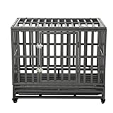 LUCKUP 38 Inch Heavy Duty Dog Cage Strong Metal Kennel and Crate for Large Dogs,Easy to Assemble Pet Playpen with Four Wheels,Black …...