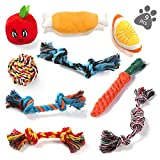 KIPIDA Dog Rope Toys for Small Dog,Dog Chew Toys for Puppy 9 Pack Durable Dog Teething Toys Tough Chewing Dog Rope Toys and Squeaky...