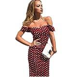 Off Shoulder Ruffles Midi Dress for Women Cocktail Dot Printed Bodyn Evening Party Short Dresses Wine