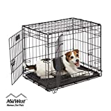 Dog Crate | MidWest ICrate 24' Double Door Folding Metal Dog Crate w/ Divider Panel, Floor Protecting Feet & Leak-Proof Dog Tray | 24L...