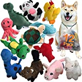LEGEND SANDY Squeaky Plush Dog Toy Pack for Puppy, Small Stuffed Puppy Chew Toys 12 Dog Toys Bulk with Squeakers, Cute Soft Pet Toy for...