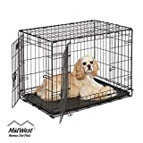 Dog Crate | MidWest ICrate 30 Inch Double Door Folding Metal Dog Crate w/ Divider Panel, Floor Protecting Feet & Leak Proof Dog Tray |...