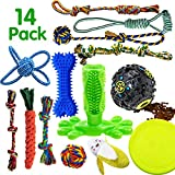 SHARLOVY Dog Chew Toys for Puppies Teething, 14 Pack Dog Rope Toys Tug of War Dog Toy Bundle Toothbrush iq Treat Ball Squeaky Rubber...