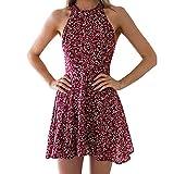 Women's Chiffon Floral Printed Dresses Flowy Halter Sleeveless Cold Shoulder Summer Beach Sundress Wine